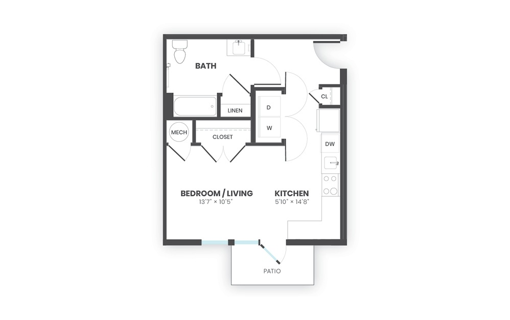Beacon - Studio floorplan layout with 1 bath and 487 square feet.
