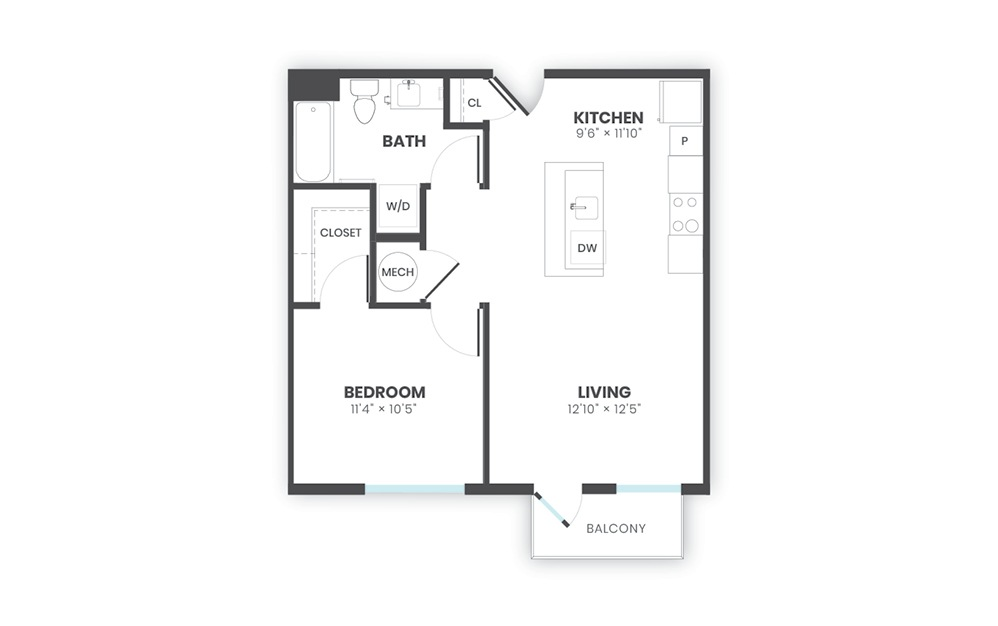 Blend - 1 bedroom floorplan layout with 1 bath and 642 square feet.