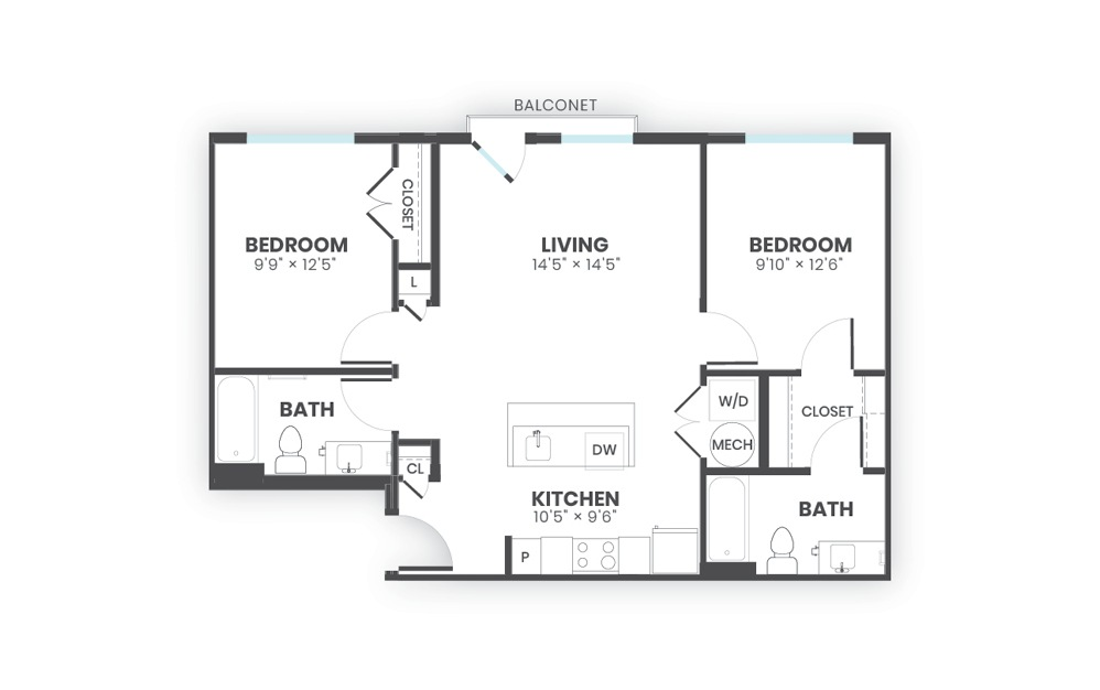 Ethos - 2 bedroom floorplan layout with 2 baths and 894 square feet.