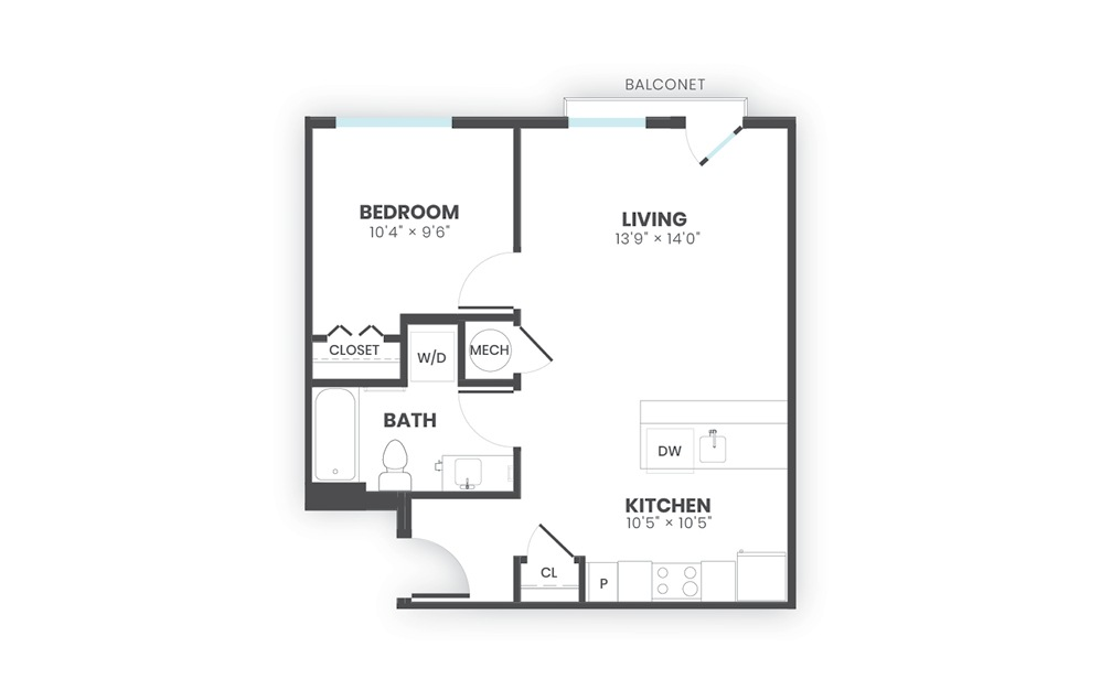 Harbor - 1 bedroom floorplan layout with 1 bath and 621 square feet.