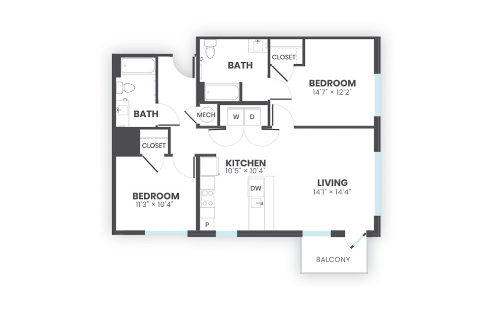Helm - 2 bedroom floorplan layout with 2 baths and 1015 square feet.