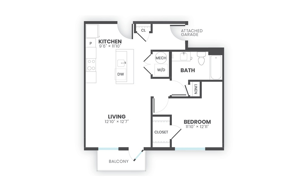 Legacy - 1 bedroom floorplan layout with 1 bath and 680 square feet.