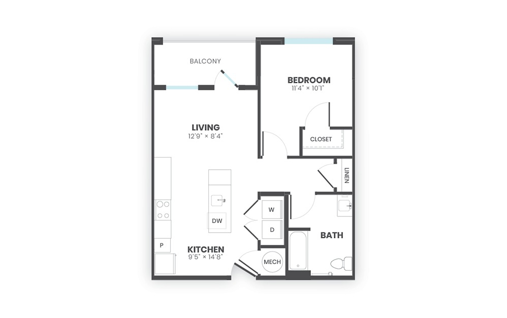 Loom - 1 bedroom floorplan layout with 1 bath and 677 square feet.