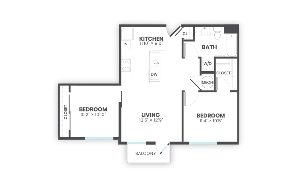Pattern - 2 bedroom floorplan layout with 1 bath and 793 square feet.