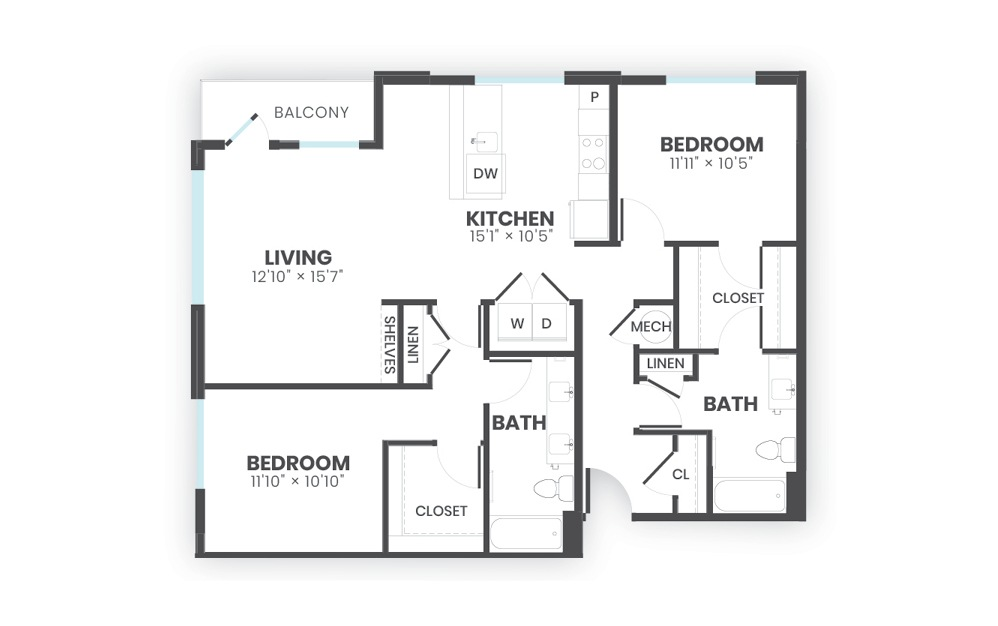 Pillar - 2 bedroom floorplan layout with 2 baths and 1218 square feet.