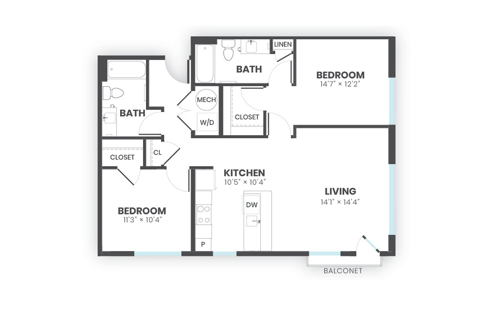 Root - 2 bedroom floorplan layout with 2 baths and 1015 square feet.