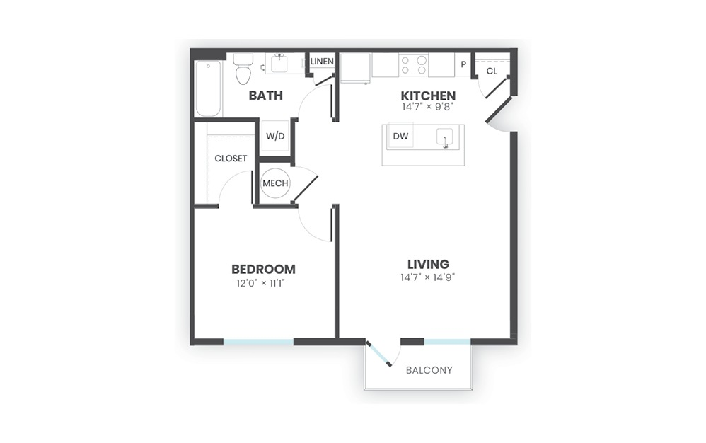Sono - 1 bedroom floorplan layout with 1 bath and 713 square feet.