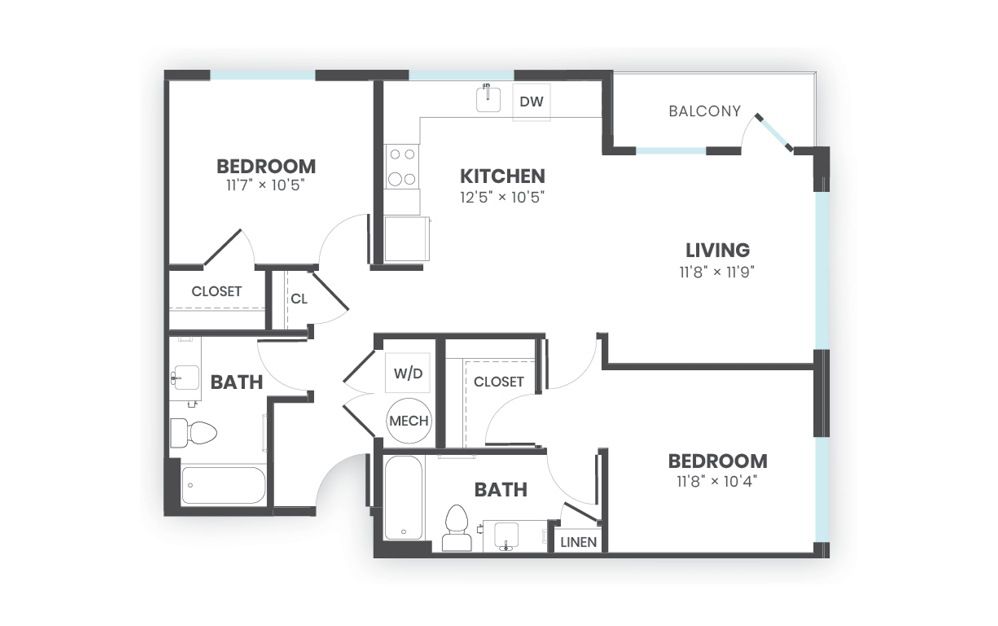 Stela - 2 bedroom floorplan layout with 2 baths and 971 square feet.