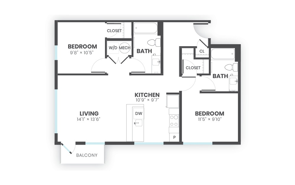 Tribute - 2 bedroom floorplan layout with 2 baths and 949 square feet.